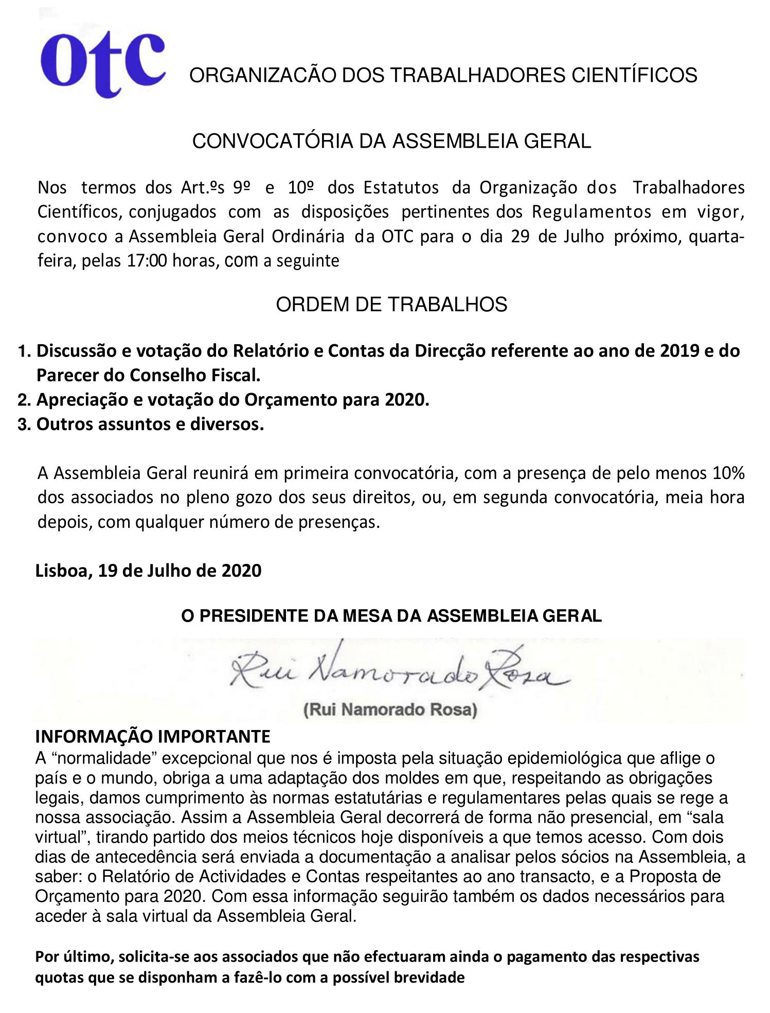 CONVOCATÓRIA AG ORDINÁRIA 2020 -2